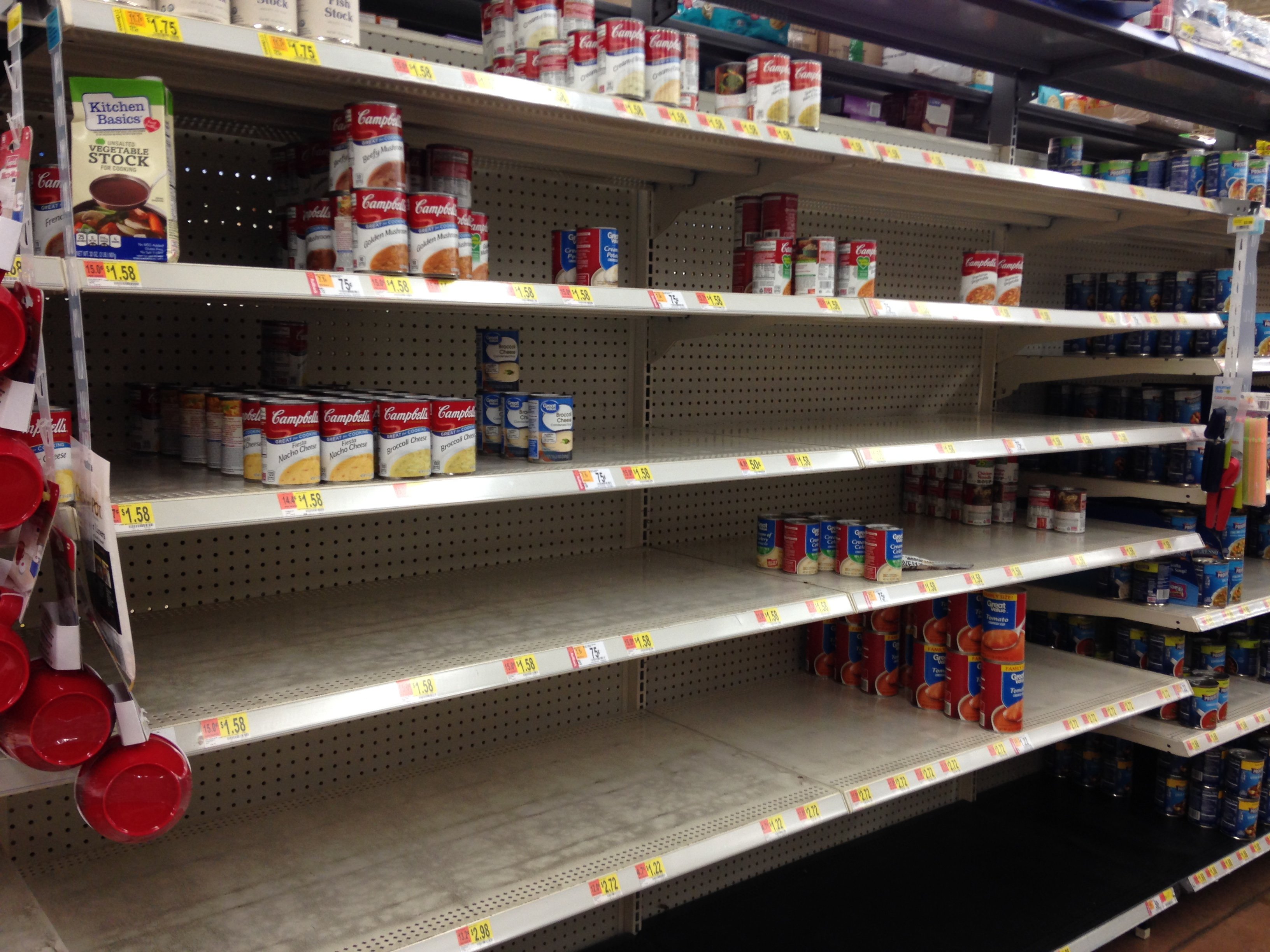picture of soup shelf almost bare.