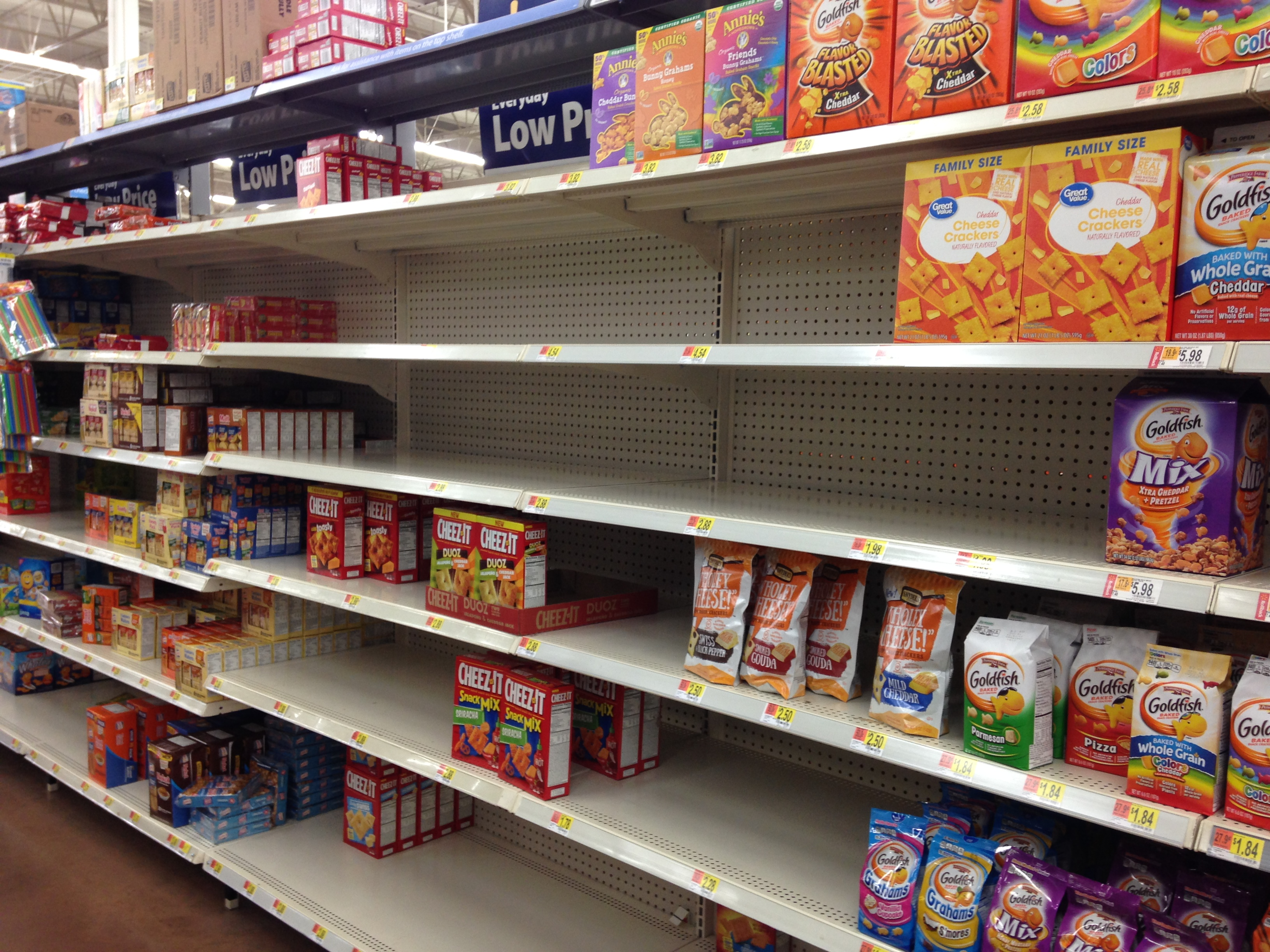 picture of cracker shelf with many bare spots.